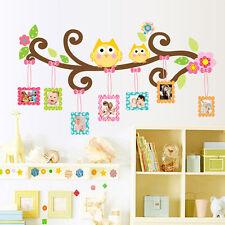 Owl Flower Tree Photo Frame Wall Sticker Vinyl Art Decal Kids Room Nursery Decor