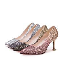 Glitter Party Pointed Toe High Heel Court Stilettos Bridal Women Ladies Shoes
