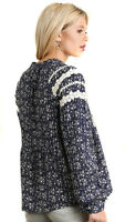 UMGEE Womens Boho Floral Crochet Chic Bohemian Long Sleeves Top Blouse S M L