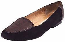 NORDSTROM Black Suede Brown Alligator Slip On Flat Loafer Shoe Women 7 AA Narrow