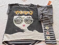 Nwt Gymboree Spring outfit Feel Good Stripe Tee & Stripe Leggings Size 10/12