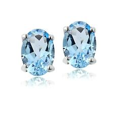 925 Silver 1ct Swiss Blue Topaz 6x4 Oval Stud Earrings