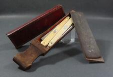 1805 Napoleonic War French Bataille Straight Razor Knife Set Strop Sharpener Box