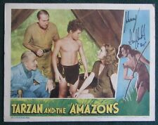 SIGNED JOHNNY SHEFFIELD~TARZAN AND THE AMAZONS~WEISSMULLER~ORIG 1945 LOBBY CARD
