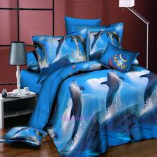 Blue Dolphin Queen Size Bed Quilt/Doona/Duvet Cover Set Pillow Case Bedding