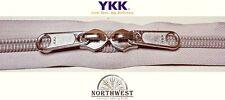 YKK Nylon Coil Zipper Tape # 10 Platinum i 1 yard with 2 Nickle Zipper Sliders