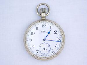 Antique Cyma Swiss Made 7 Jewel Subdial Nickel Chrome Case Swiss Pocket Watch