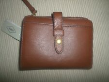 Fossil Brown Multifunction Leather Bifold Zip Wallet NWT