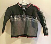 Boys Sz 90 3 Hanna Andersson Fair Isle Nordic Sweater 1/4 Zip Pullover Christmas