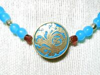 Old Gold Style Aqua Filigree Round Luck Choker Pendant Necklace New! ~EugeniaM~
