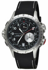 Hamilton Khaki Eto Aviation Chronograph Black Rubber Men's Watch H77612333 New