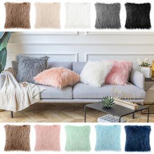 18inch Fluffy Plush Throw Sofa Cushion Cover Luxury Shaggy Faux Fur Pillow Cases