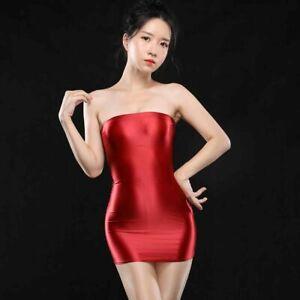 Women Semi-Sheer Lingerie Satin Shiny Bodycon Dress Tube Top Mini Dress Clubwear