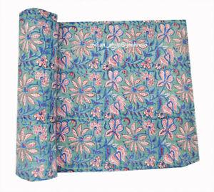 Indian Cotton Bedspread Kantha Quilt Blanket Hand Block Printed Bedding Coverlet