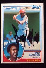 GARY MATTHEWS 1983 TOPPS Autographed Signed Baseball Card JSA 780 PHILLIES