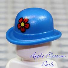 NEW Lego Minifig BLUE BOWLER HAT - Clown Minifigure Derby Cap Head Gear w/Flower