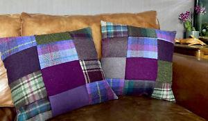 2 Harris Tweed Tetrad Purple Green Teal Aubergine Patchwork Cushion Cover Velvet