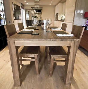 Pusuk 160cm Reclaimed Teak Table & 4 Wooden Chairs