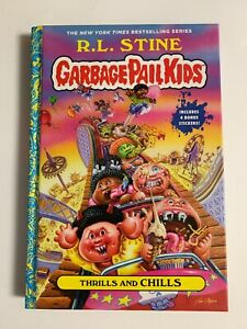 RL Stine SIGNED BOOK Thrills and Chills Garbage Pail Kids 1ST EDITION Hardcover