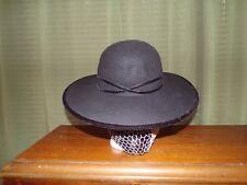 Ladies Civil War Reenactor Berkmar Black Wool Hat with Ribbon