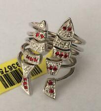 Swarovski Red & White Crystal Platinum Bond Brass Open Stacked Knuckle Ring