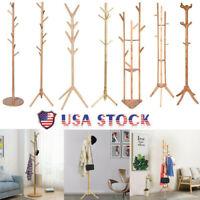 Wood Clothes Coat Hat Stand Hanger Tree Holder Organizer Rack Shelf Home USA