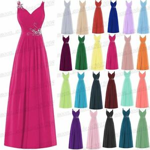 Long Chiffon Wedding Evening Formal Party Dresses Ball Gown Prom Bridesmaid 6-26