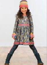 Matilda Jane AROUND TOWN Dress size 8 Gray Trees Girl's Fleece Cozy make believe