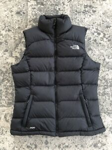 EUC The North Face Nuptse Black Goose Down Vest 700 Fill Womens Small Full Zip