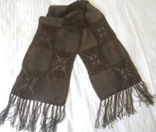 VINTAGE RETRO GREGORY LADNER BROWN SUEDE LEATHER & SILKY CROCHET SQUARES SCARF