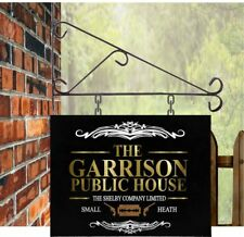 THE GARRISON HANGING METAL SIGN MANCAVE PUB BAR PEAKY BLINDERS sign only
