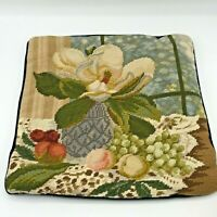 Floral Still Life Needlepoint Pillow Cover With Velvet Zipper Backing 13 x 13