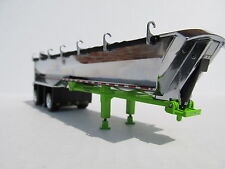 DCP 1/64 SCALE MAC ROUND BOTTOM DUMP TRAILER SPREAD AXLE CHROME TUB GREEN FRAME