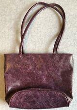 Bueno Purple Textured Bucket Bag Purse, Outside compartments, 2 handles, Medium