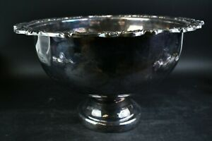 13 Pc. Vintage Extra Large 16.25 In. Sheridan Silverplated Punch Bowl W/Cups Set