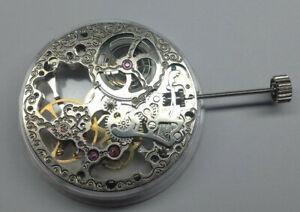 Seagull 6498 gents mechanical skeleton pocket watch movement - Ticking - NOS -