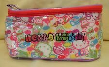 Hello Kitty Cosmetic Vinyl Hand Bag Make Up Case with Hand Strap / Cloth Lining