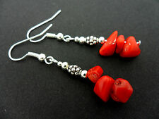 A PRETTY PAIR OF RED CORAL CHIPS  DANGLY  EARRINGS. NEW.