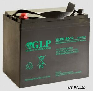 GLPG echte VRLA GEL Deep Cycle Batterie 80Ah (C20) Seniorenmobil Rollstuhl Solar