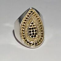 SOLD OUT! ANNA BECK 18 K GOLD PLATED S/S TWO TONE SIGNATURE TEARDROP RING SIZE 7