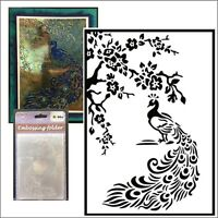 Peacock embossing folder Nellie Snellen Embossing Folders HSF020 Animals Birds
