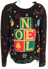 Women's Ugly Christmas Sweater Noel Ornaments Holly Snowflakes Size Small