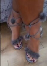 Women's grey shoes by WS ladies fluffy high heels Stiletto Party size 6
