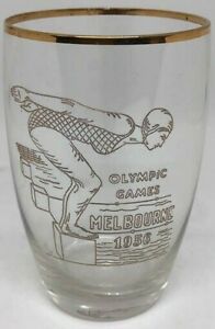 1956 Melbourne Olympic Swimmer Gold Etching / Accents Glass