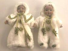Vintage Christmas Ornament SET of Boy Girl Porcelain Doll Angels WHITE Winter