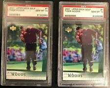 Lot of (2) Tiger Woods 2001 Upper Deck UD Golf #1 Rookie Card rC PSA 10 Gem Mint