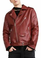 Noora New Men Lambskin Leather Jacket Slim fit balted Motorcycle Biker Jacket S8