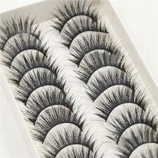 10Pairs Beauty Long Natural Makeup Black Handmade Thick Fake False Eyelashes H3S
