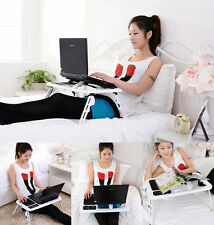 Adjustable Foldable Laptop Desk Table with Cooling Fan Stand Portable Bed US HP