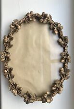 Art Nouveau Hibiscus Gilt Brass/Bronze Oval Picture Frame